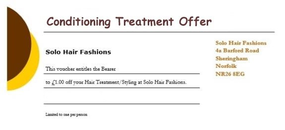 Conditioning Treatment Voucher for Solo Hair Fashions, Sheringham, North Norfolk